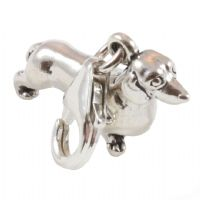 Dachshund Dog 3D Sterling Silver Clip On Charm - With Clasp